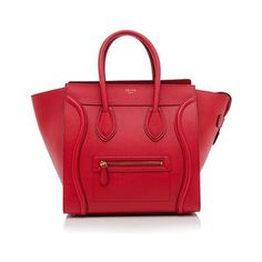 Rental Celine Mini Luggage Tote ($325) ❤ liked on Polyvore featuring bags, handbags, tote bags, red, celine tote, leather handbags, red tote bag, zippered tote bag and zippered tote
