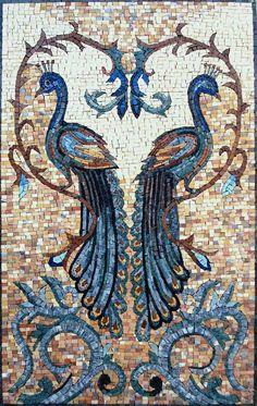 """32"""" Peacock Love Couple Archaic Bird Nature Garden Home Decor Marble Mosaic Art   eBay"""