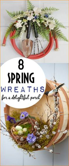 8 Spring Wreaths For a Delightful Porch.  Easter wreaths to decorate any door.