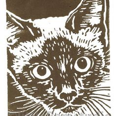 Siamese Cat - Original Hand Pulled Linocut Print £18.00                                                                                                                                                                                 More