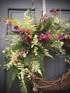 Fern Spring Wreath, Spring Door Wreath, Door Decor Spring, Gift for Her, Housewarming, Mothers Day, Full Fern Wreath, Gift Ideas, Wreaths This is a unique design filled with various types of ferns with a few delicate twigs and some small purple flowers. Please note that the first