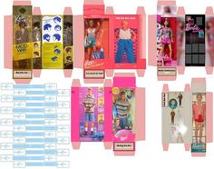 Cajas de Ken y Barbie en miniatura para imprimir - Ken and Barbie Miniature boxes for print. Your dolls will gonna love it! Barbie Box, Barbie Dolls, Doll Crafts, Diy Doll, Dollhouse Toys, Barbie Accessories, Barbie Furniture, Miniture Things, Paper Toys