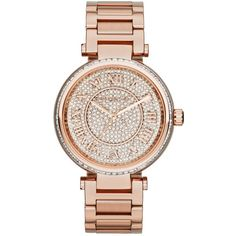 Michael Kors Women's Skylar Rose Gold-Tone Stainless Steel Bracelet... ($263) ❤ liked on Polyvore featuring jewelry, watches, accessories, no color, stainless steel jewellery, stainless steel jewelry, rose gold tone jewelry, michael kors watches and bracelet watch