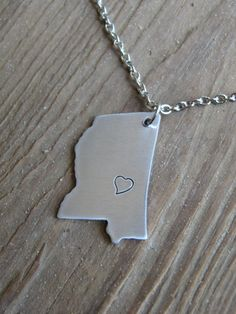 Mississippi State Pendant Necklace by LeafRiverJewelry, $16.00