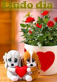 Gif animado romántico corazones flores peluches