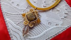 NECKLACE SQUARE MUSTARD, necklace spicy mustard, new year,honey, woman accessories, handmade jewelry, made in Italy, necklace soutache, ooak di MuciddosBeads su Etsy