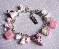 DIY polymer clay candy bracelet.