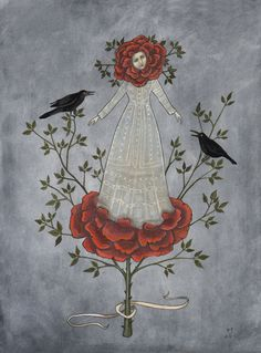 swan-bones: Arose Gouache and watercolor on paper, 2014 by Kelly Louise judd Art And Illustration, Birds And The Bees, Ouvrages D'art, Teaching Art, Gouache, Dark Art, Printmaking, Fantasy Art, Art Pieces