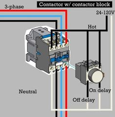 How to wire contactor block delay timer/ http://waterheatertimer.org/How-to-wire-contactor-block.html