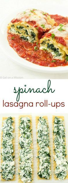 Spinach Lasagna Roll-Up Recipe: An incredible easy weeknight or weekend dinner the entire family will enjoy! Step-by-step photos included! dinner ideas vegetarian meatless monday Spinach Lasagna Roll-Ups - Gal on a Mission High Protein Vegetarian Recipes, Vegetarian Recipes Dinner, Healthy Chicken Recipes, Dinner Recipes, Healthy Protein, Lasagna Recipes, Vegetarian Italian, Dinner Ideas, Family Vegetarian Meals