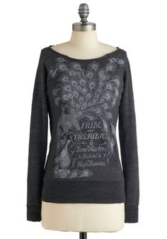 Made You Book Sweatshirt #ModCloth - Your literary knowledge already makes you a captivating conversationalist, but with help from this cozy, heather-grey sweatshirt by Out of Print, your style can be just as smart! Silvery ink depicts a vintage cover of Jane Austen's Pride and Prejudice.
