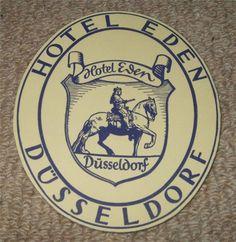 HOTEL EDEN - DUSSELDORF - VINTAGE HOTEL LUGGAGE LABEL Hotel Eden, Vintage Hotels, Luggage Labels, Porsche Logo, Graphics, Party, Ebay, Fiesta Party, Graphic Design