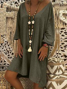 Women Long Sleeve V Neck Plus Size Dress Pullover Top Blouse Casual Clothes Wear Georgia, Casual Dresses, Casual Outfits, Casual Clothes, Mini Shirt Dress, Mini Vestidos, Black Midi Dress, V Neck Dress, Ladies Dress Design