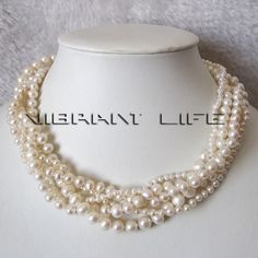 18  3-8mm 5Row White Freshwater Pearl Necklace Gold Plated Clasp