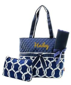 Personalized Sailboat Rope Nautical Quilted 3pc Diaper Bag - Navy