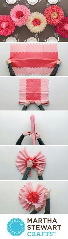 papierblumen basteln, rose aus rosa karton selber machen, grünes ...