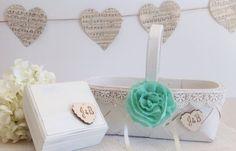 Flower Girl Basket Ring Bearer Box Custom by AllLavenderandLove