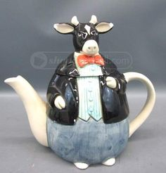 Otagiri Cow teapot ... in shape of an upright cow dressed in a formal men's suit with bowtie, c. 1950s-1970s, ceramic, Japan ... Otagiri was an importer of ceramics & giftware from Japan