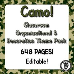 Looking for some options for your classroom, so you can pick and choose what you want? This megapack /bundle contains 709 pages of printables for you to use, decorate and organize your classroom! Even if you don't have a themed classroom there are some great materials for you to use in your classroom. This is themed with a camo / camouflage pattern. Check out the preview file for better images!