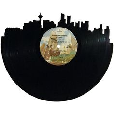 Vancouver Skyline Silhouette Vinyl Record Wall by RecordsRedone