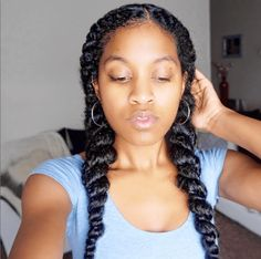 See How To Jumbo Flat Twist for a quick and easy protective style. This look is great on medium to long hair and can also be accomplished w/o extensions.