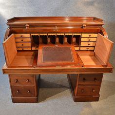 Antique Fine Victorian Writing Bureau Large English Cylinder Roll Top Desk C1870 | 246225 | Sellingantiques.co.uk