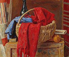 Alexandre Blanchet - L'Echarpe rouge, 1954 - Huile sur toile, 54 x 65 cm.