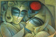 Nityam Singha Roy Artwork Cuban Art, Fantasy Images, Krishna Art, Canvas Paintings, Ganesha, Indian Art, Canvases, Nativity, Folk Art