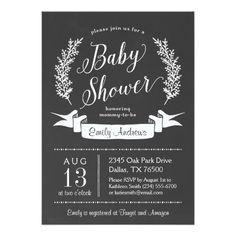 Rustic Chalkboard Baby Shower Invitation