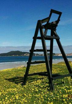 Playa america. Nigran. Galicia. Spain. Silla de vigilante de la playa.  Beach. Sea. Mayo 2014 Playa Beach, Mayo, Spain, Environment, Sunset, Landscape, Nature, Chairs, Scenery