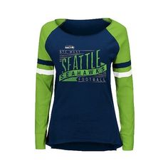 Seattle Seahawks Women's Long Sleeve Raglan Baseball T-Shirt ($30) ❤ liked on Polyvore featuring tops, t-shirts, seattle seahawks, blue t shirt, raglan shirts, blue long sleeve shirt, long sleeve t shirts and long sleeve cotton shirts