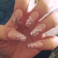 Instagram media by shannonh94x - #nails #rosegold #glitter #fade #notd #nailsbyme #nailstagram #nailsoftheday #nailswag #spring #fresh