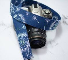 dSLR Camera Strap - Dandelion Wishes on Navy Blue with Green Accents