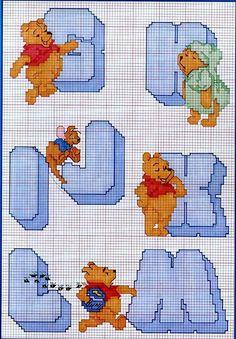 Winnie the Pooh con Abecedario para Punto de Cruz. Winnie the Pooh with Alphabet for Cross Stitch. Cross Stitch Samplers, Cross Stitching, Cross Stitch Embroidery, Piglet, Pooh Bear, Eeyore, Cross Stitch Alphabet Patterns, Graph Crochet, Stitch Character