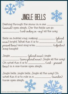 We did these at my grader's winter party and then the students' sang their creation. Five PRINTABLE Christmas Carol Mad Libs (Jingle Bells, Rudolph, Deck the Halls, Jolly Old St. Nick, and Frosty) by Spool and Spoon for Sumo's Sweet Stuff Holiday Games, Christmas Party Games, Christmas Activities, Christmas Printables, Christmas Traditions, Holiday Fun, Christmas Crafts, Xmas Games, Christmas Ideas