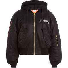Vetements Embroidered Bomber Jacket featuring polyvore, women's fashion, clothing, outerwear, jackets, black, goth jacket, jersey jacket, cropped bomber jacket, bomber style jacket and print bomber jacket