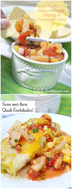 The pineapple juice, pineapple, mango and peaches in this Mexican Peach Mango and Pineapple Salsa make it lightly sweet and spicy! Quick And Easy Appetizers, Quick Snacks, Best Appetizers, Easy Desserts, Brunch Appetizers, Filling Food, Homemade Salsa, Snack Recipes, Delicious Recipes