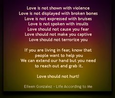 Love should not hurt.