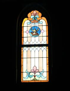 Two Pane Stained Glass With Oil Lamp Motif at Provenance Architecturals in Philadelphia