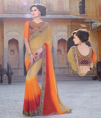 Light Coffee, Red & Orange Color Georgette Designer Party Wear Sarees : Aastha Collection  YF-40187