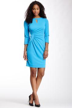 Elie Tahari Gathered 3/4 Sleeve Dress by Elie Tahari on @nordstrom_rack