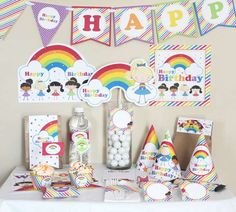 Rainbow Stick Figure Girls Birthday Printable Party Kit | CatchMyParty.com