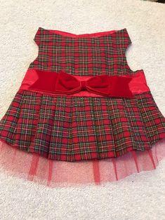 Dog Dress Size S Pet Clothes Apparel  Red Black Green Plaid Red Mesh Trim    eBay