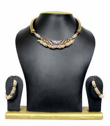 Buy Gold Plated Strand Necklace With Earings  For Women necklace-set online