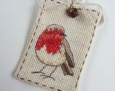 Cross Stitch   Robin Gift Tag #4