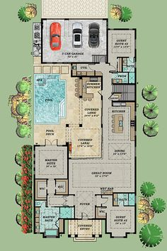 Every Bedroom a Private Suite Floor Master Suite Butler Walkin Pantry CAD Available Loft PDF Split Bedrooms Architectural Designs Florida House Plans, Pool House Plans, Courtyard House Plans, House Layout Plans, New House Plans, Dream House Plans, Modern House Plans, Atrium House, U Shaped House Plans
