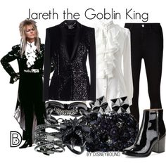 Jareth the Goblin King played by David Bowie by leslieakay on Polyvore featuring Just Cavalli, AG Adriano Goldschmied, Calvin Klein, Accessorize, Eddie Borgo, Michael Kors, Lisa Freede, Waterford and davidbowie