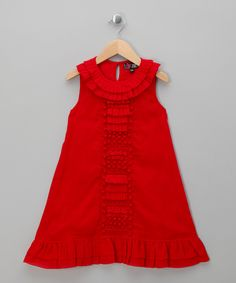 Red Ruffle Pleated Party Dress