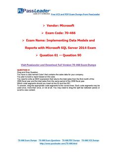 70-466 Exam Dumps with PDF and VCE Download (61-90)