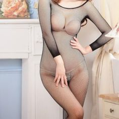 Women black hollow out bodystocking open crotch body suit stocking sexy lingerie erotic stocking female hole bodysuit catsuit